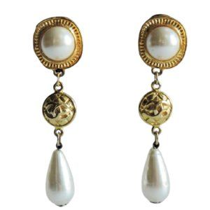 Gold Faux Pearl C C Chanel Style  Drop Earrings